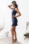 Riverdale Sleeveless Lace Dress - Steel Blue - Miss Runway Boutique