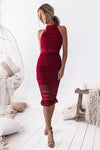 Rivers Midi Lace Dress - Red - Miss Runway Boutique
