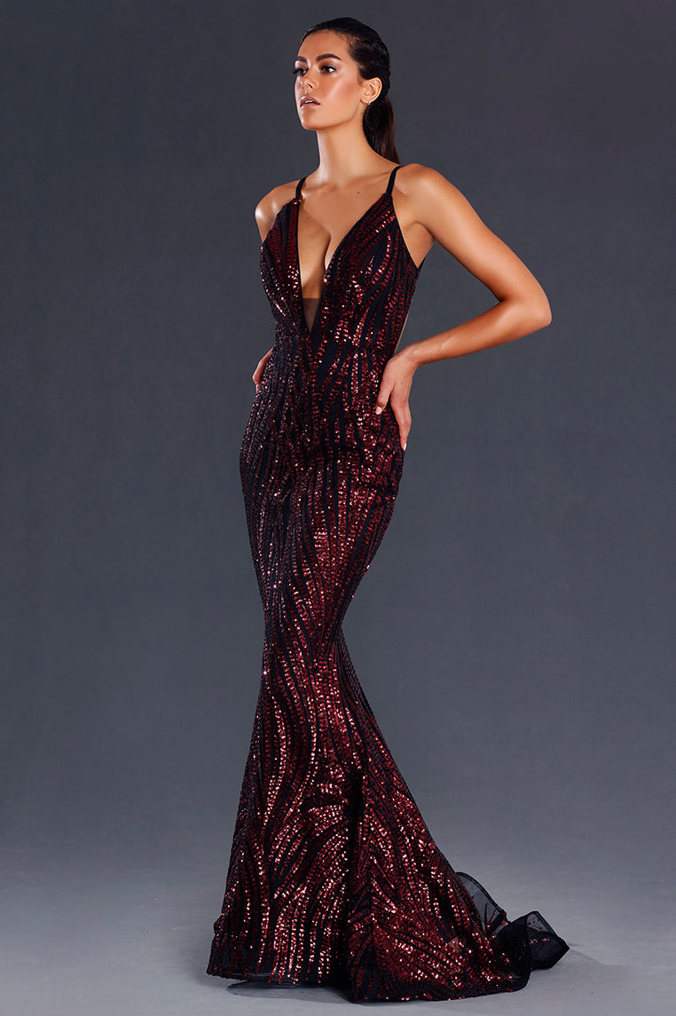 Saffy Sequin Formal Dress - Wine - Miss Runway Boutique