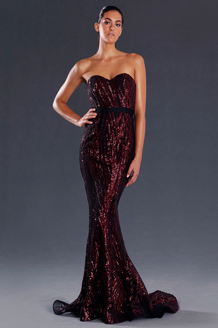 Santana Sequin Formal Gown - Wine [PRE-ORDER] - Miss Runway Boutique