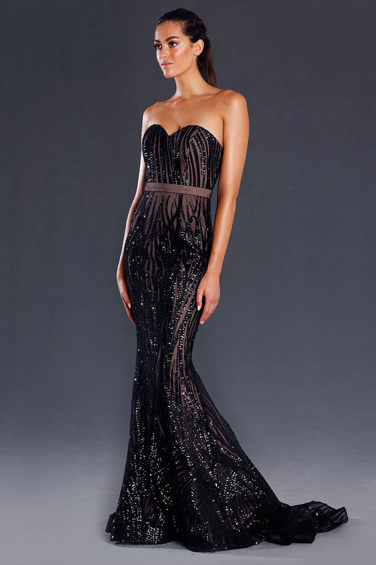 Santana Sequin Formal Gown - Black [PRE-ORDER] - Miss Runway Boutique