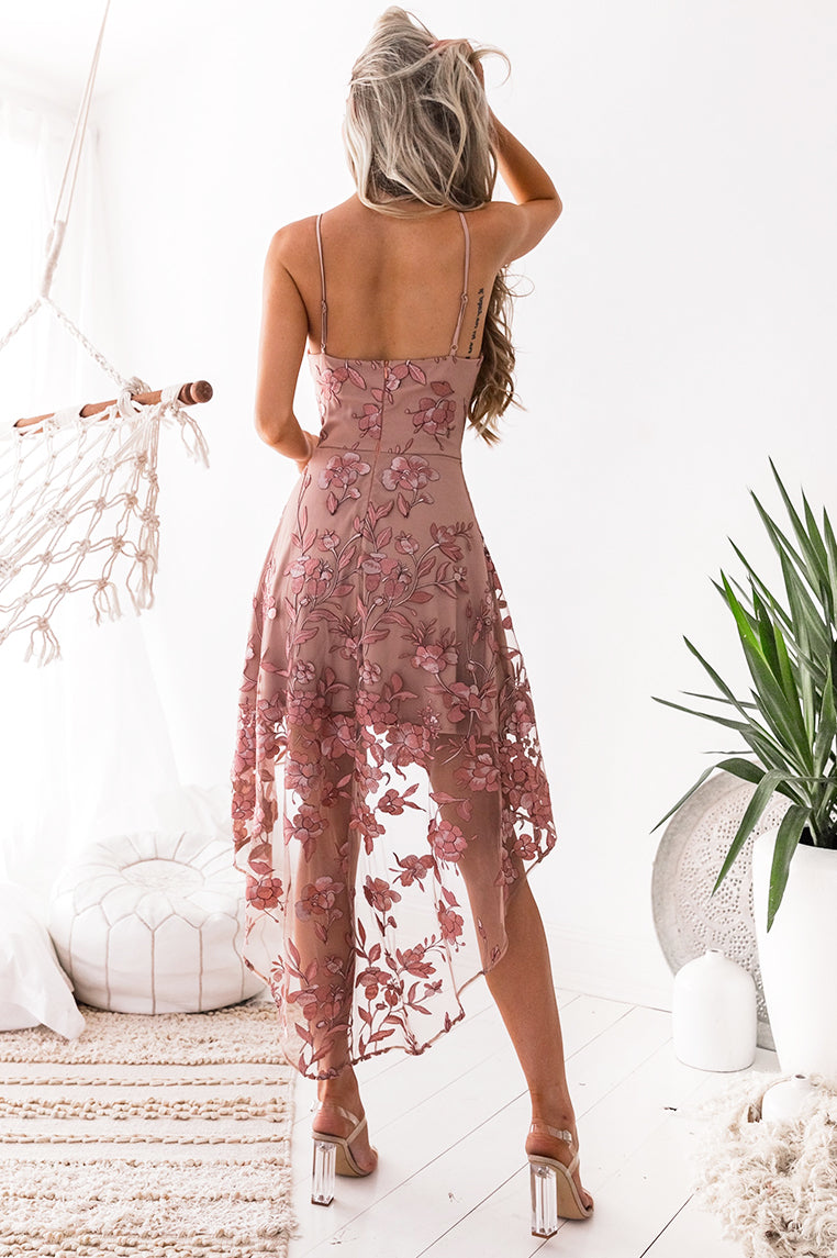 Saskia High Low Embroidery Dress - Blush - Miss Runway Boutique