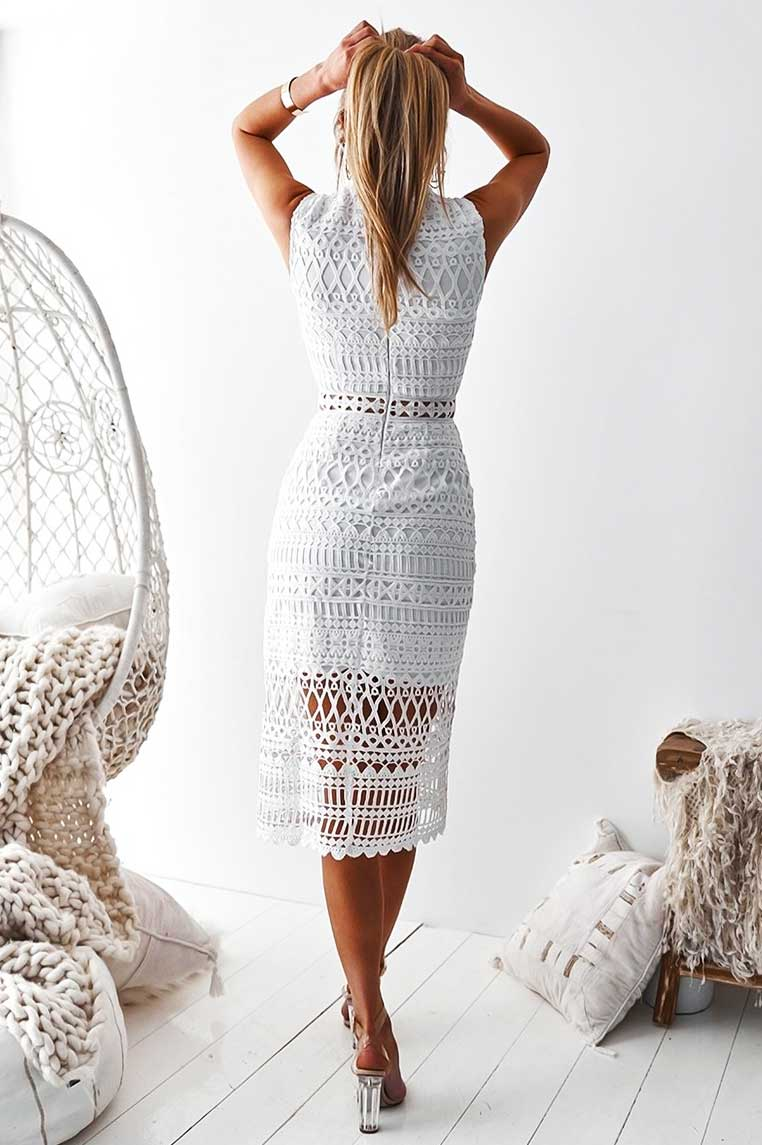 Scarlet Lace Midi Dress - White