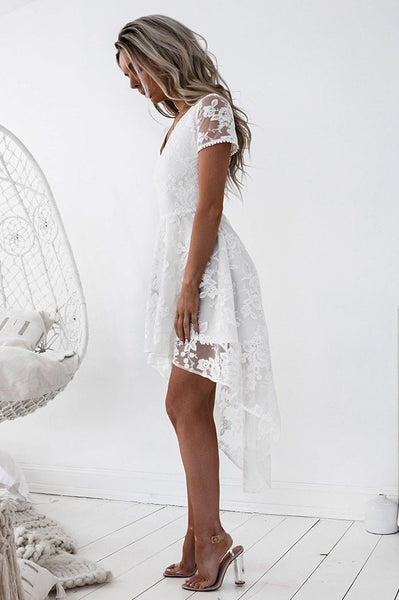 Shay High Low Lace Dress - White