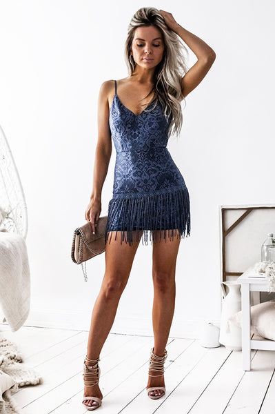 Shimmy Lace Dress - Blue