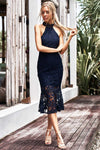 Sonia Lace Midi Dress - Navy - Miss Runway Boutique
