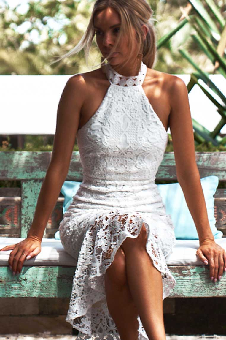 Sonia Lace Midi Dress - White - Miss Runway Boutique