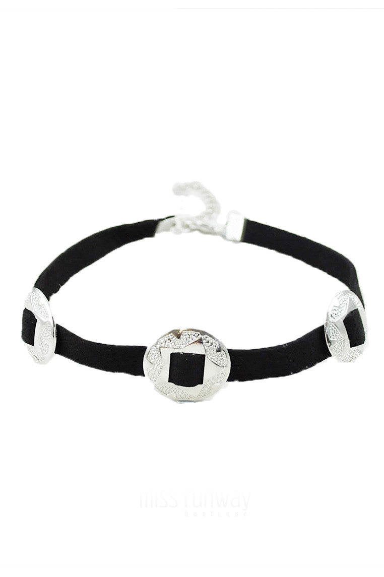 Star Studded Choker - Black - Miss Runway Boutique