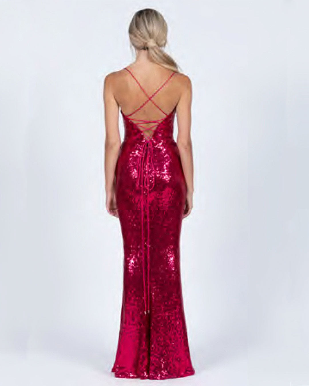 Stephanie Sequin Gown - Hot Pink