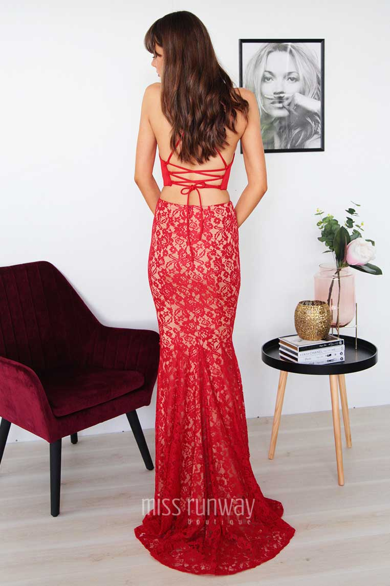 Tyra Two Piece Lace Gown - Red