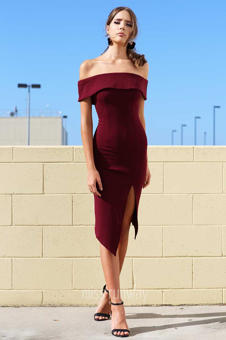 Tammy Midi Dress - Wine - Miss Runway Boutique
