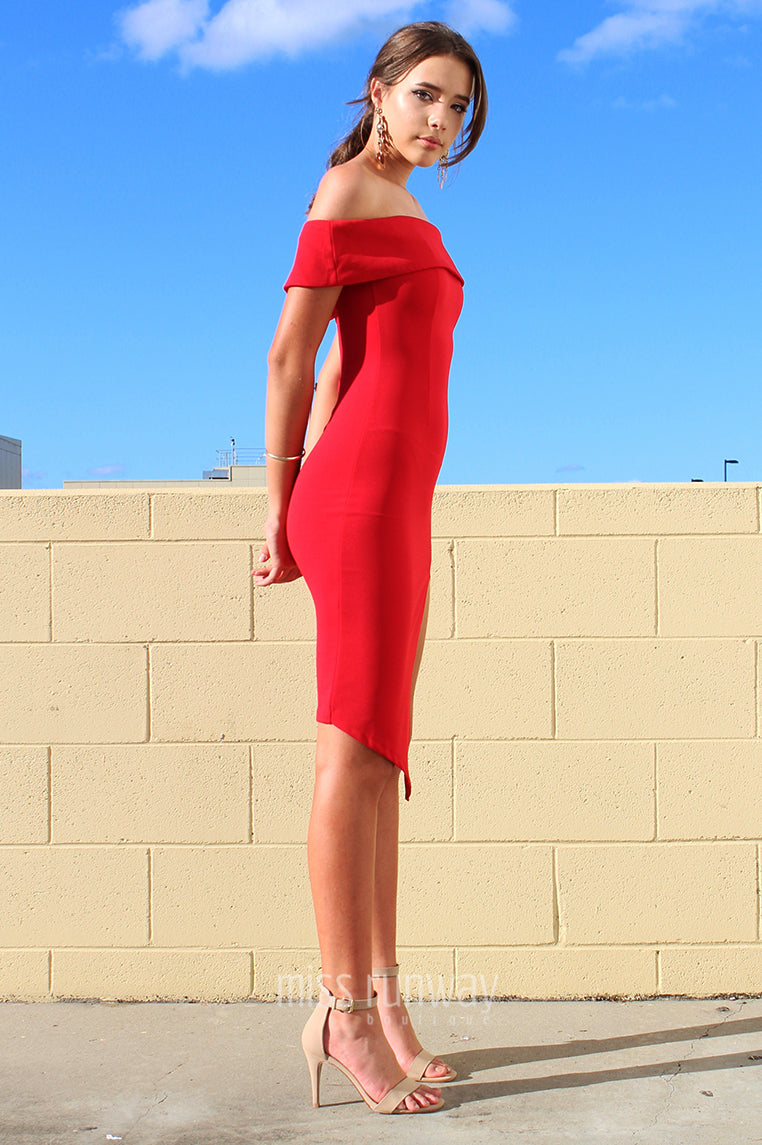 Tammy Midi Dress - Red - Miss Runway Boutique