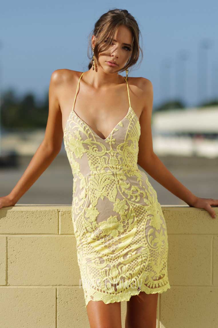 Tarin Lace Dress - Yellow - Miss Runway Boutique