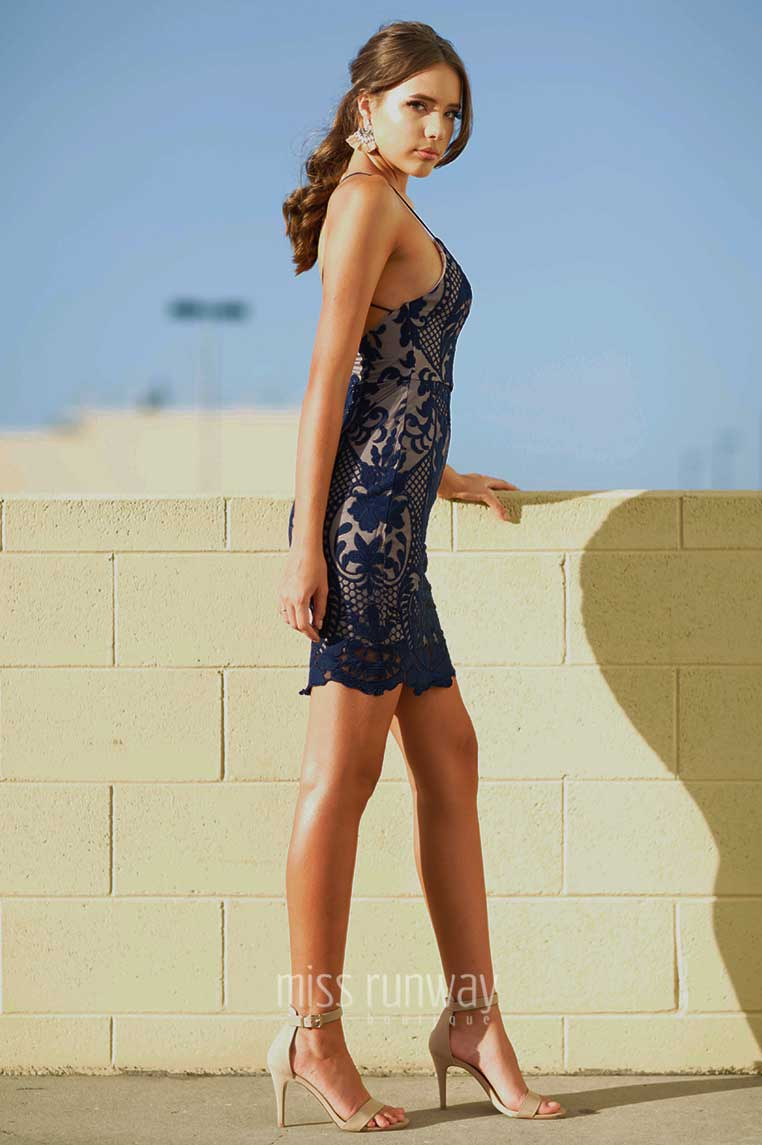 Tarin Lace Dress - Navy - Miss Runway Boutique