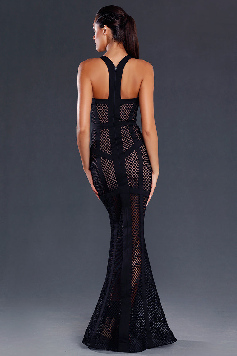 Taylor Mesh Formal Gown - Black - Miss Runway Boutique