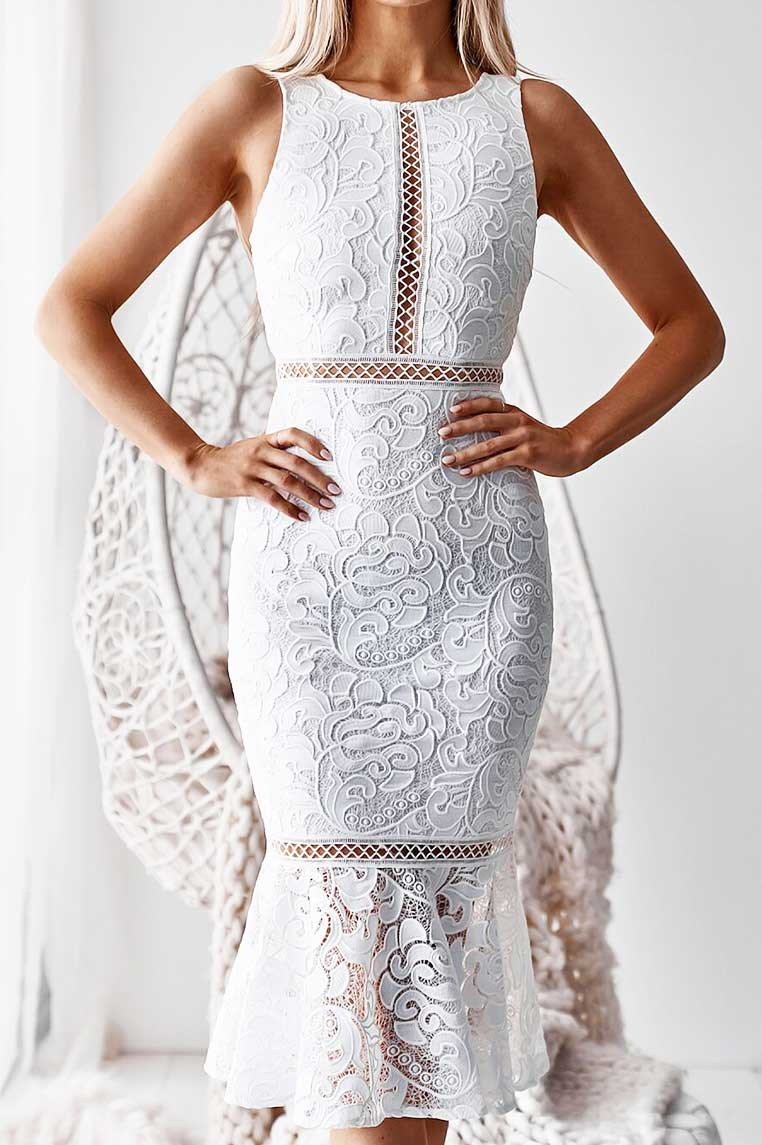 Tia Lace Midi Dress - White