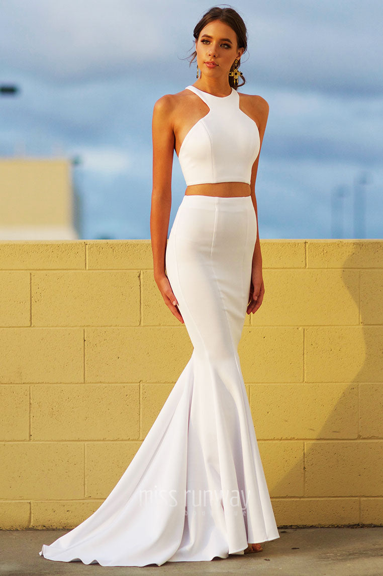 Tyra Two Piece Gown - White - Miss Runway Boutique