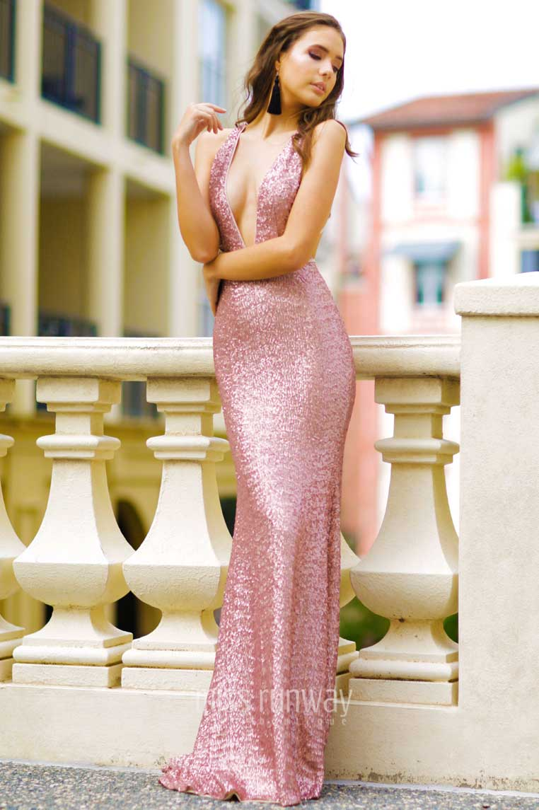 Xara Sequin Gown - Pink