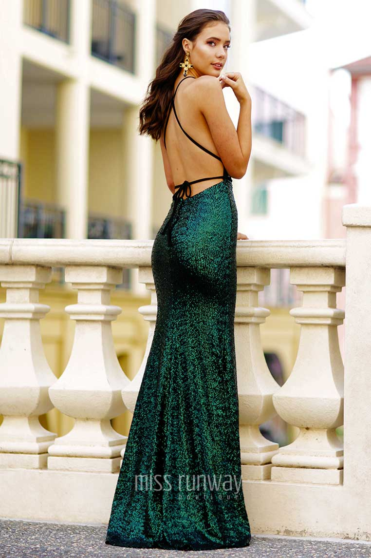 Xara Sequin Gown - Emerald Green