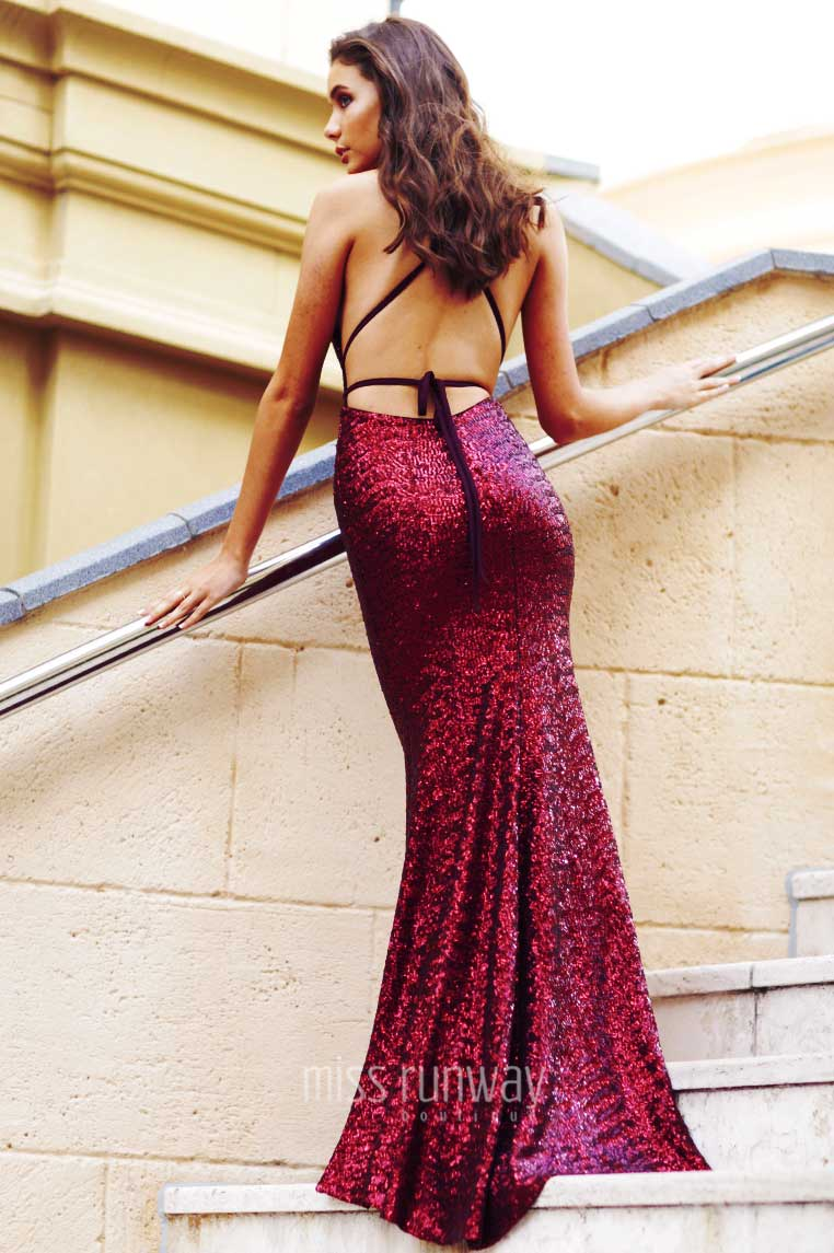 Xara Sequin Gown - Wine