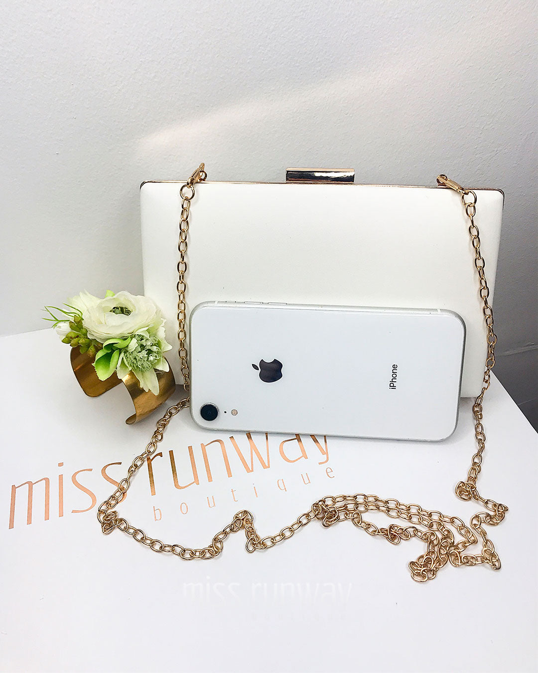 Zena Box Clutch - White