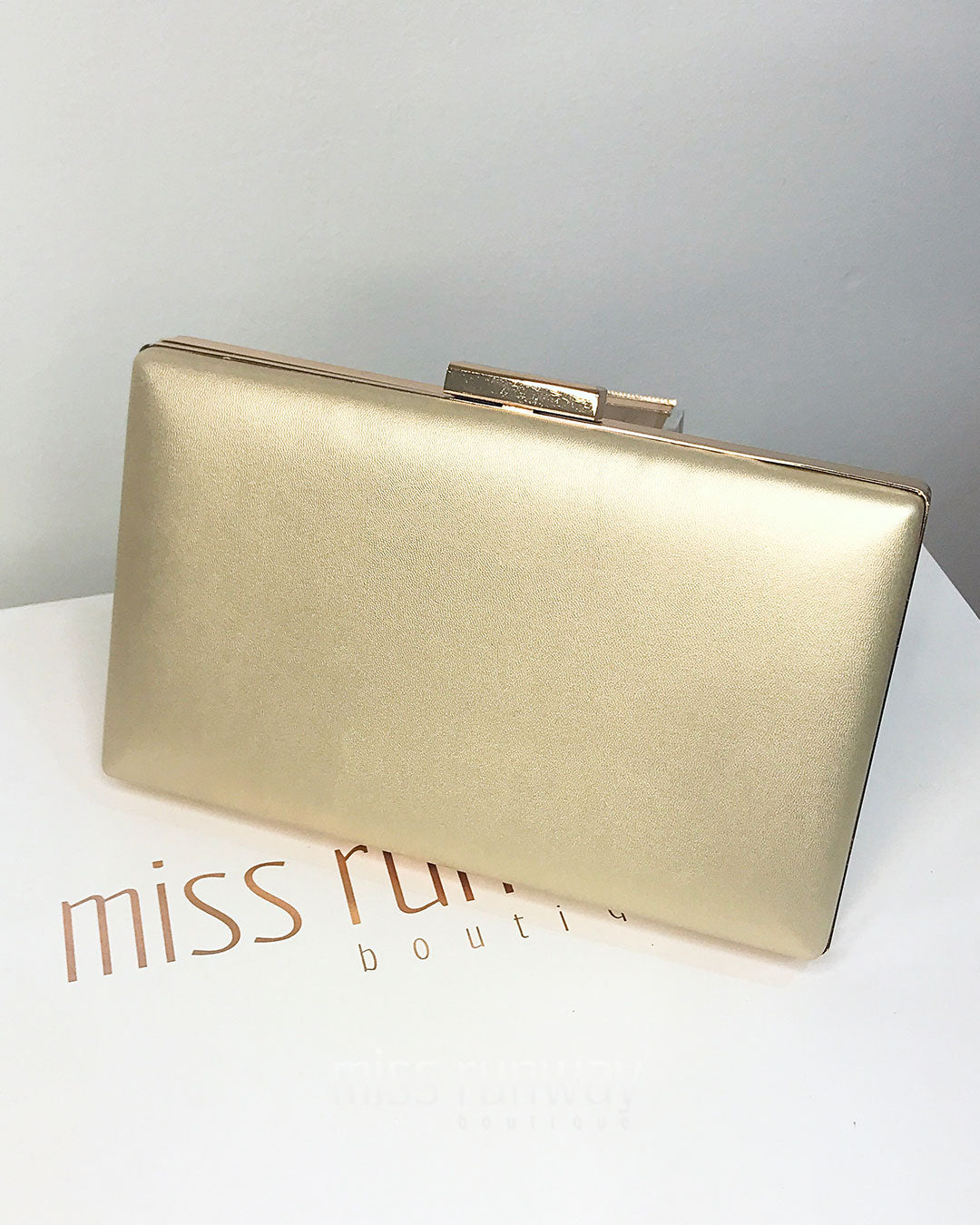 Zena Box Clutch - Gold