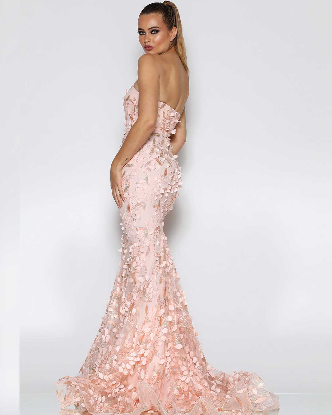 Camilia Petal Gown - Pink - Miss Runway Boutique