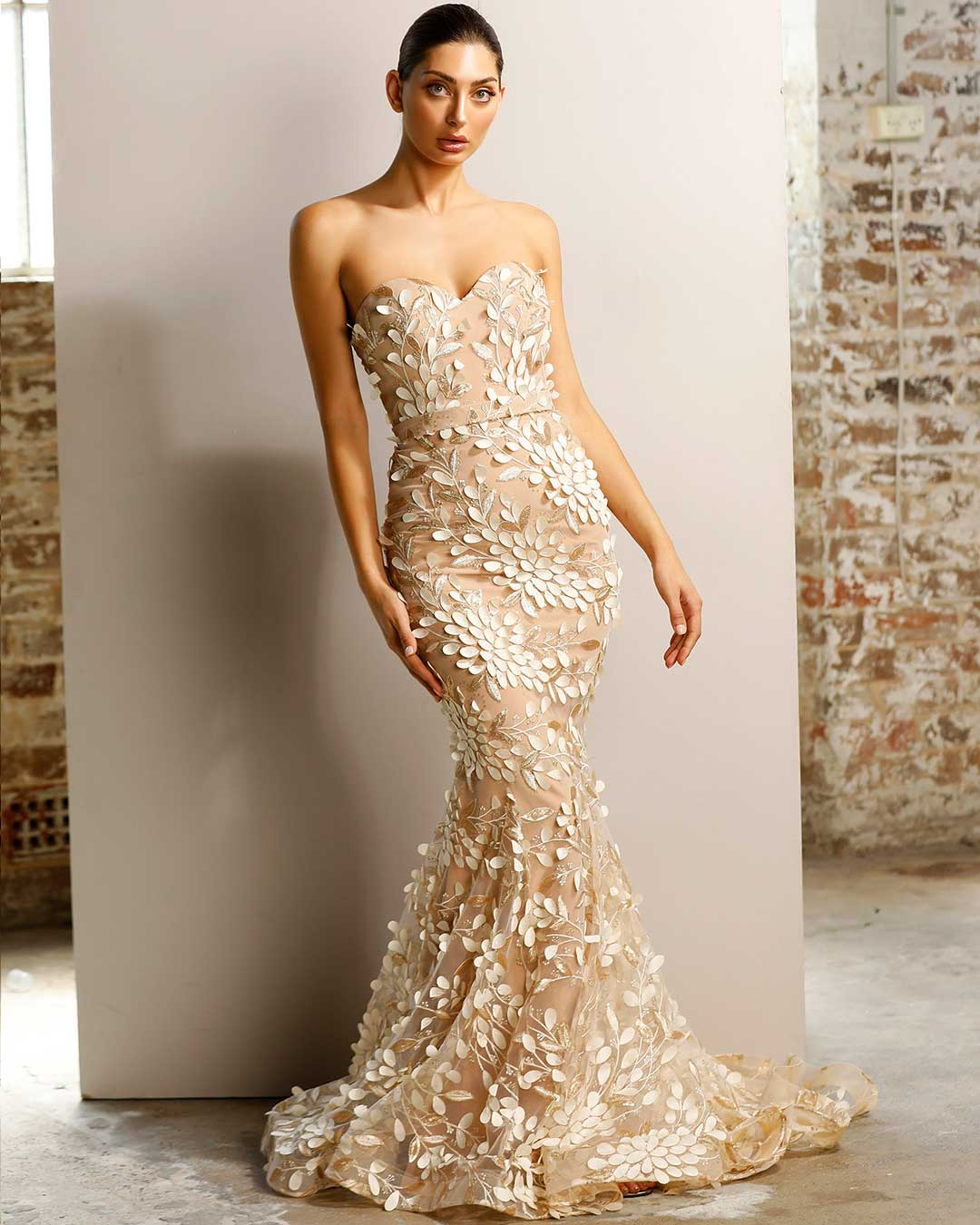 Camilia Petal Gown - Champagne - Miss Runway Boutique