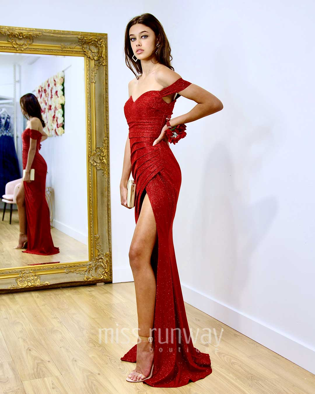 Carmen Glitter Gown - Red *[EXCLUSIVE]