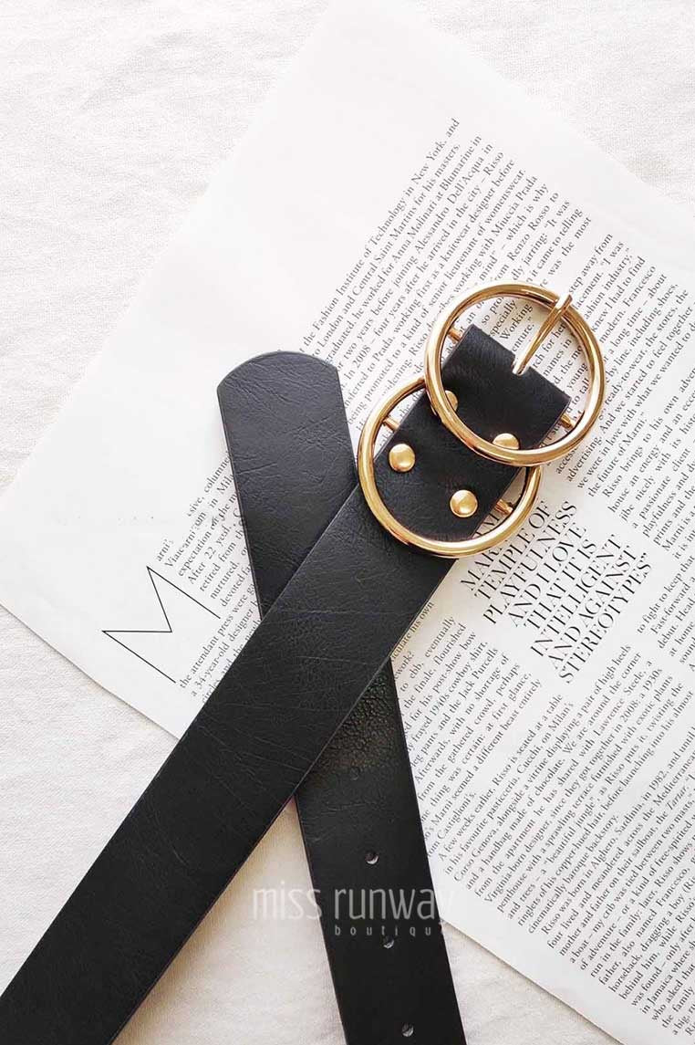 Double Circle Belt - Black/Gold