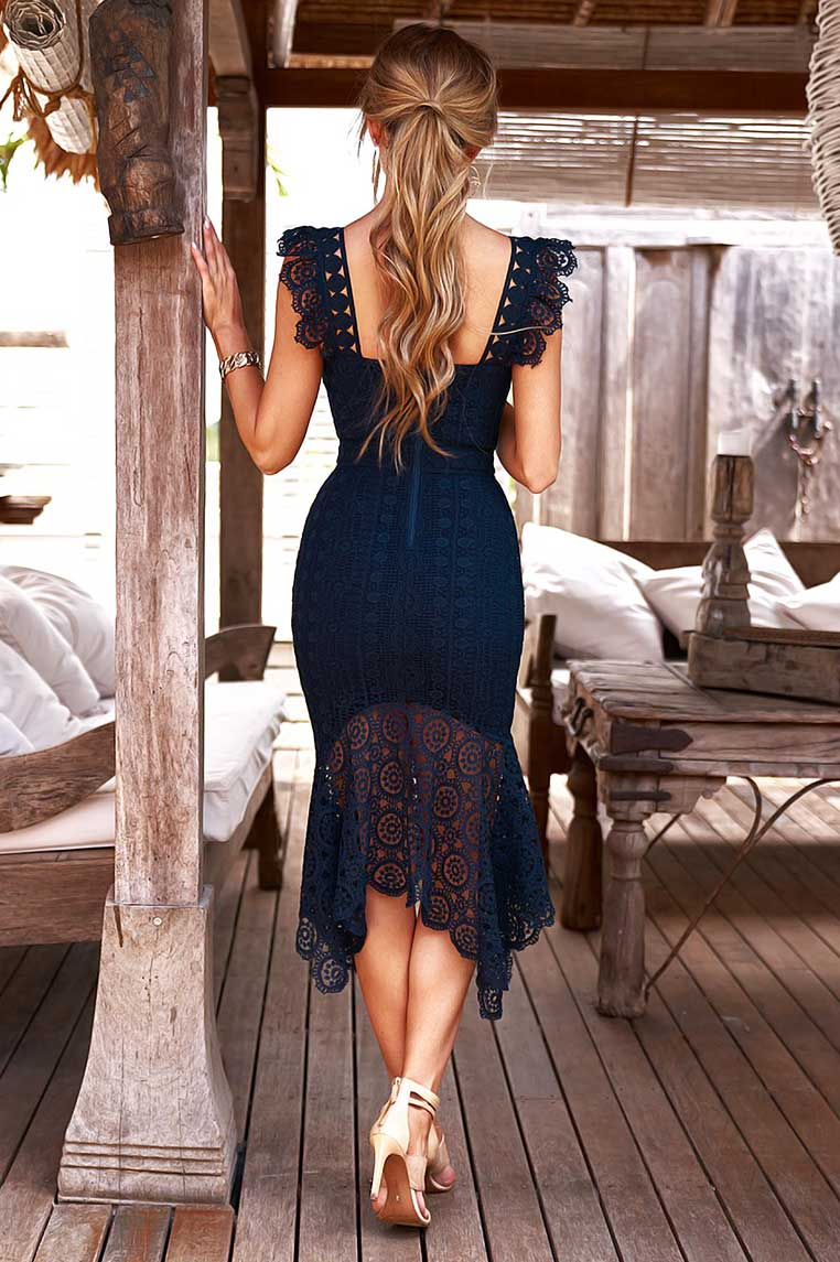 Giselle Lace Midi Dress - Navy