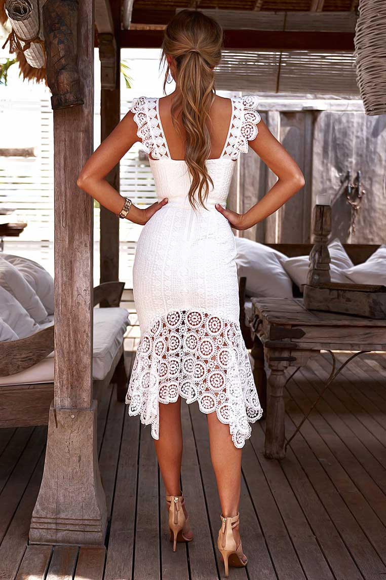 Giselle Lace Midi Dress - White