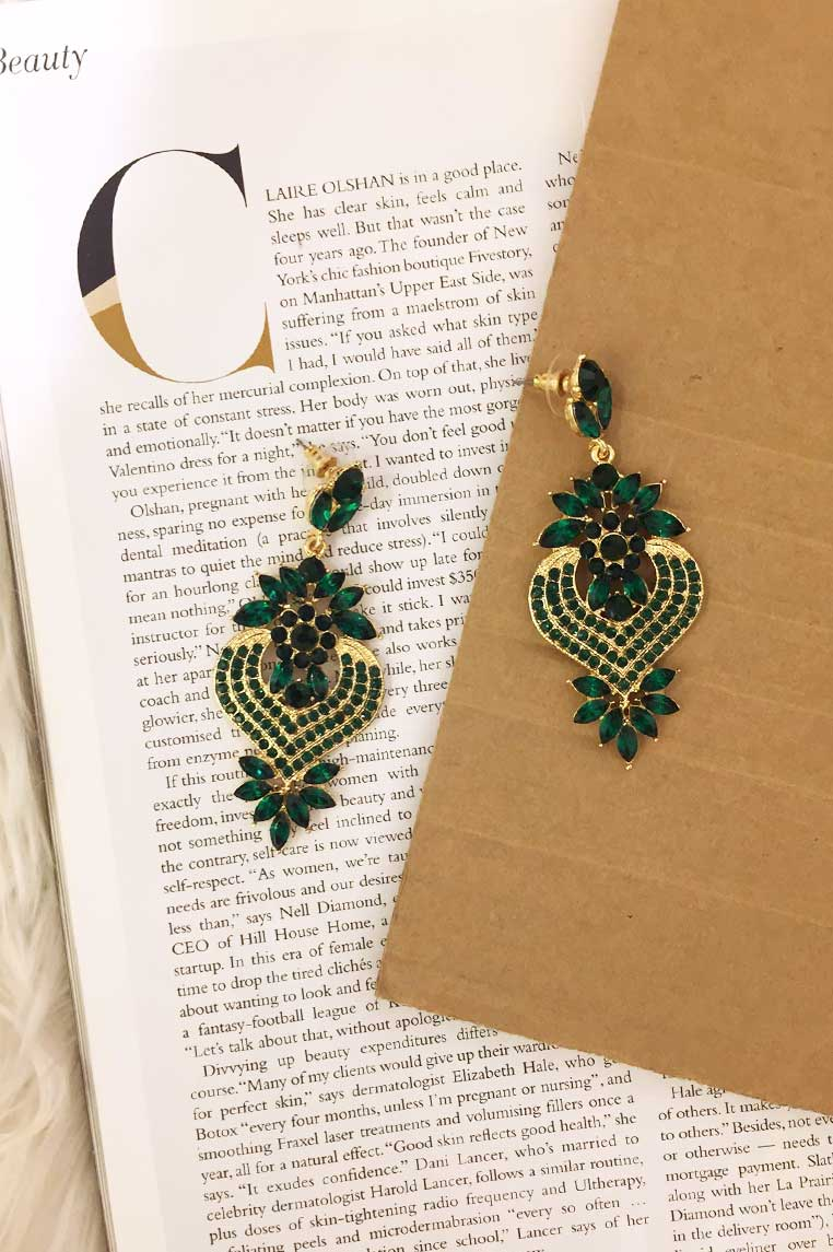 Glam Child Earrings - Emerald Green/ Gold