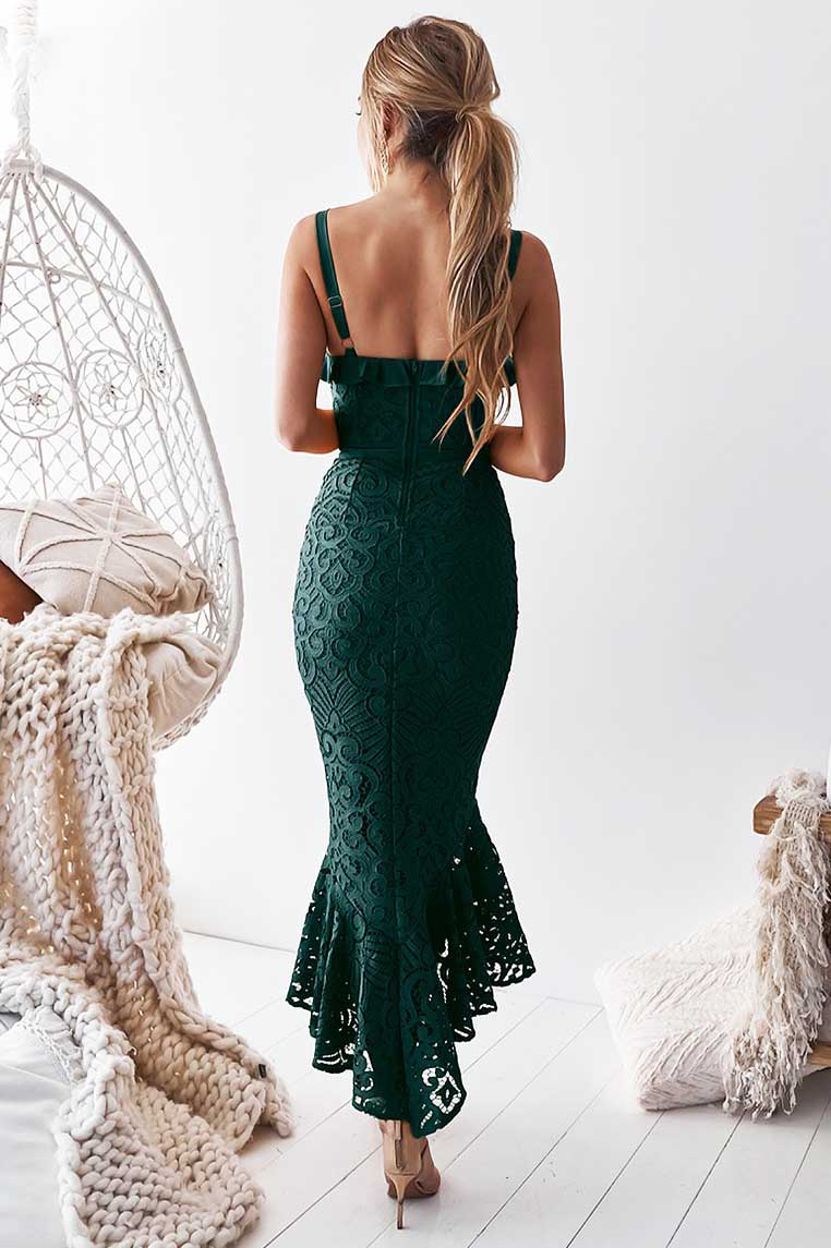 Leanne Lace Midi Dress - Emerald Green