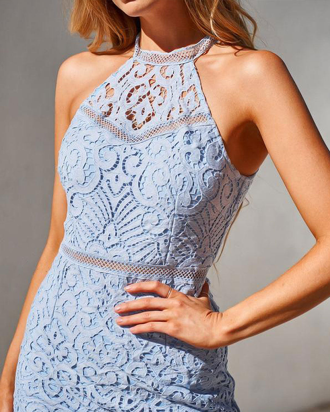 Mika Lace Dress - Powder Blue