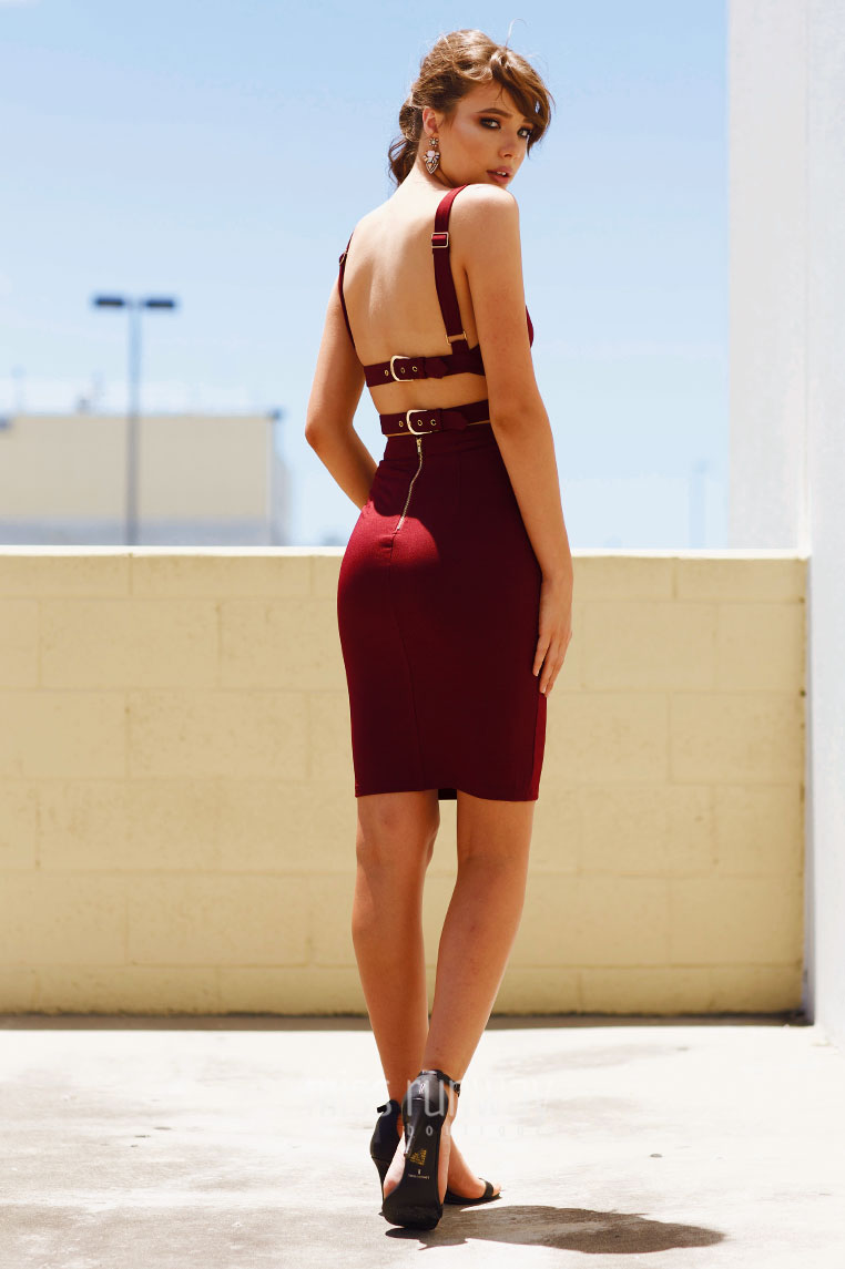 Miley Buckle Dress - Wine