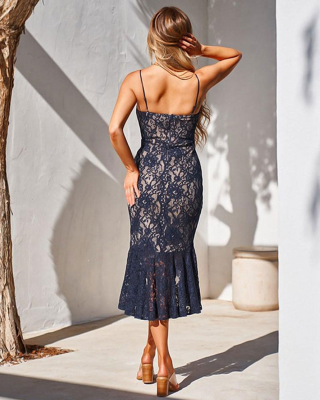 Amylia Lace Midi Dress - Navy - Miss Runway Boutique