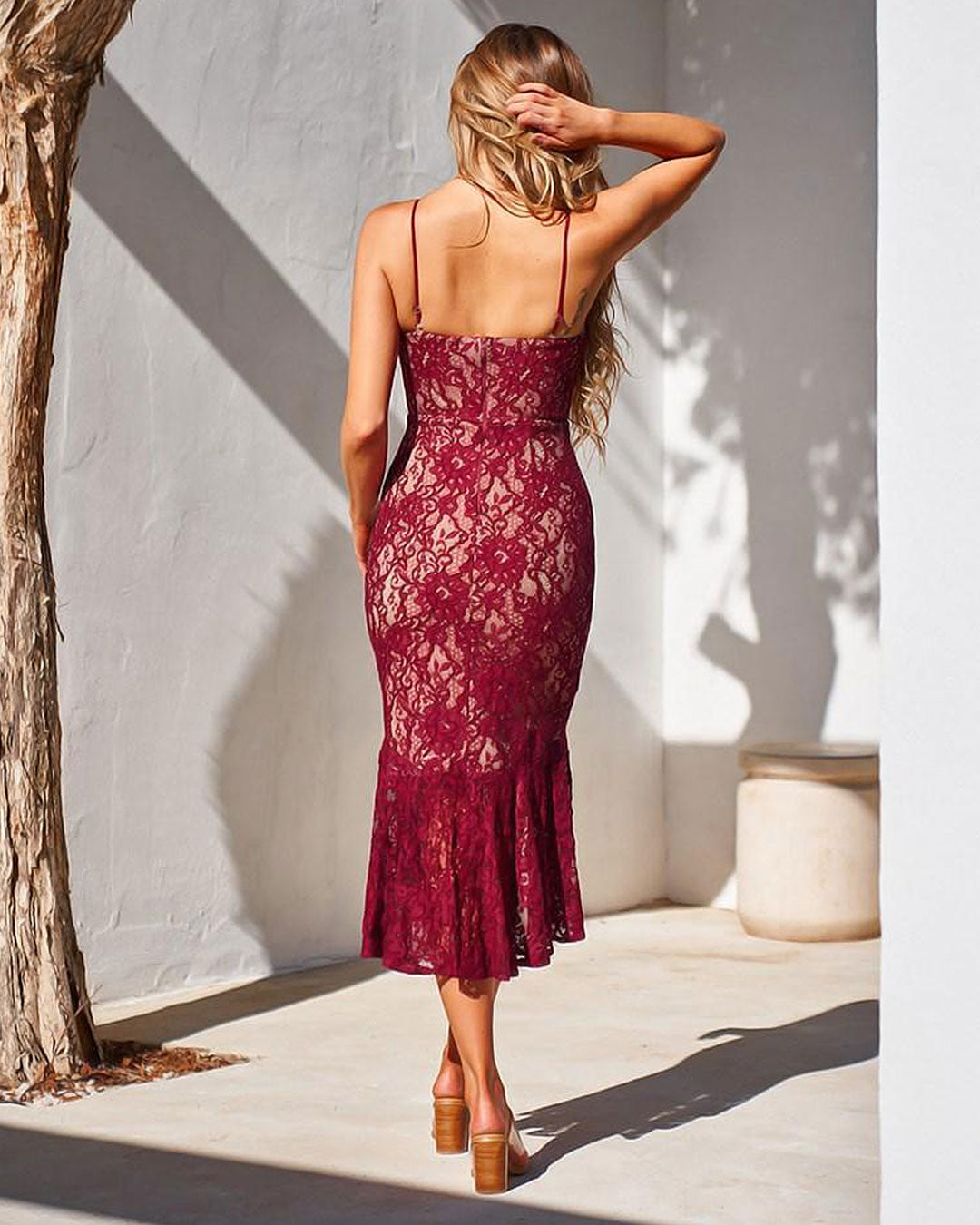 Amylia Lace Midi Dress - Red - Miss Runway Boutique
