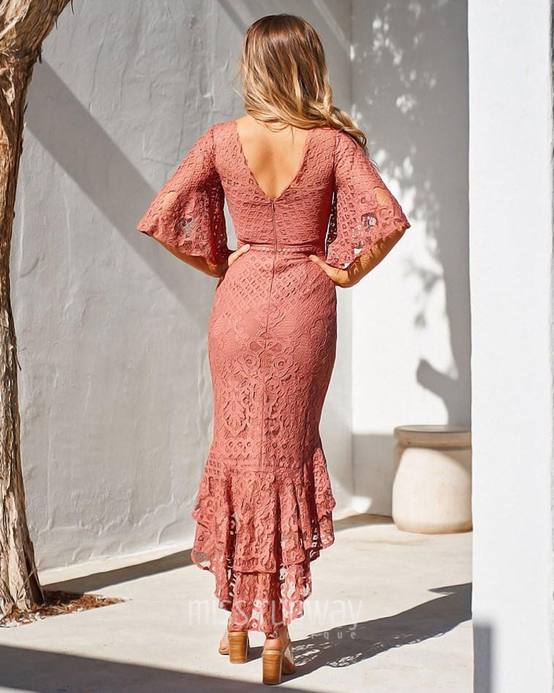 Reyna Lace Midi Dress - Mauve [PRE-ORDER]