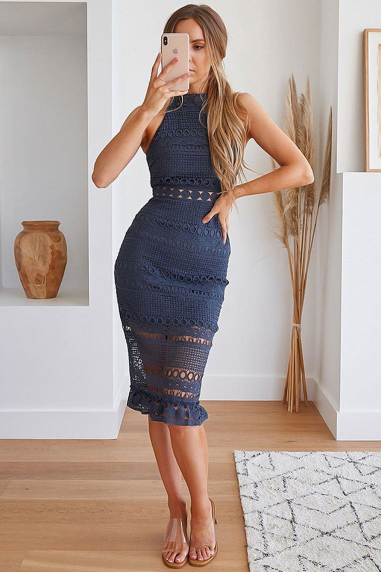Rivers Midi Lace Dress - Steel Blue