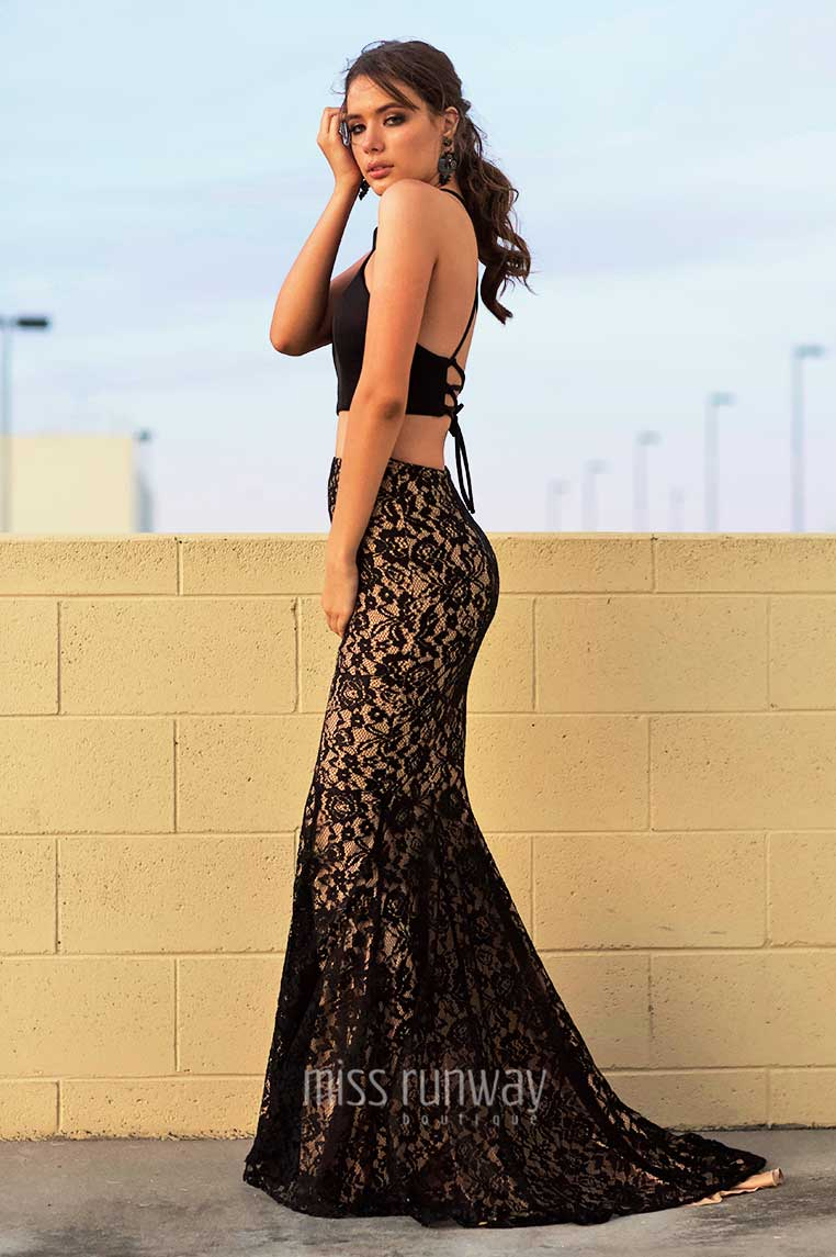 Tyra Two Piece Lace Gown - Black