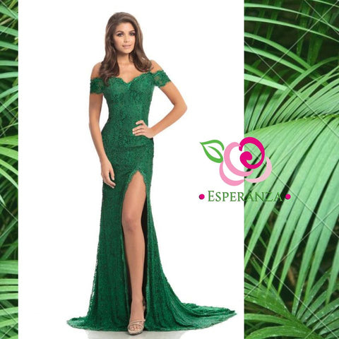 Johnathan Kayne 9216 Emerald Size 6  - SALE $200 (reg. $750) - Beaded