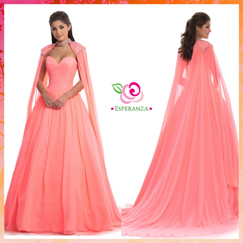 Johnathan Kayne 8200 Hot Coral Size 0  - SALE $200 (reg. $700) - Removable Cape