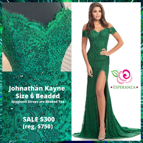 Johnathan Kayne 9216 Emerald Size 6  - SALE $300 (reg. $750) - Beaded