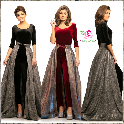 Johnathan Kayne 9229 Crimson Size 4 & Black Size 8 - SALE $150 (reg. $450) - Fabulously Lined Multi-Tone Skirt Picks Up Many Colors in Light (self lined for full sparkle on underside)