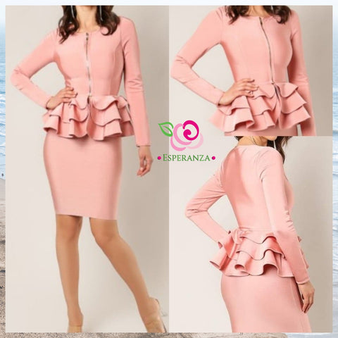Peplum Bandage 2 Pc Suit $69 (reg. $95) Medium BLUSH Only