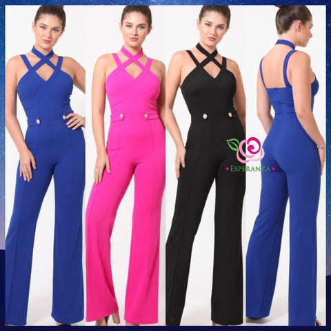 Criss-Cross Jump Suit $59 (reg. $79)  Szs Small, Medium & Large FUCHSIA