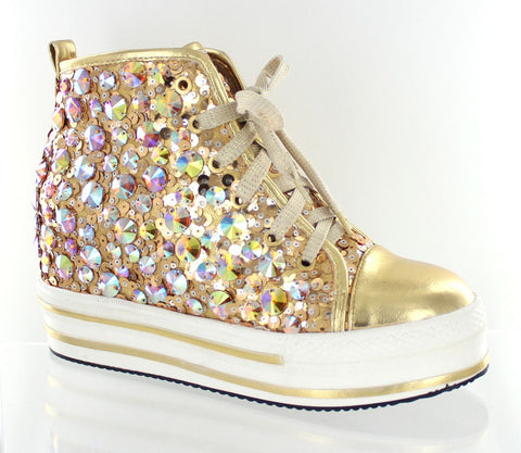 Helen's Heart Gold Bling High Top Hidden Wedge Sneakers Size 9 - SALE $49 (reg. $119)