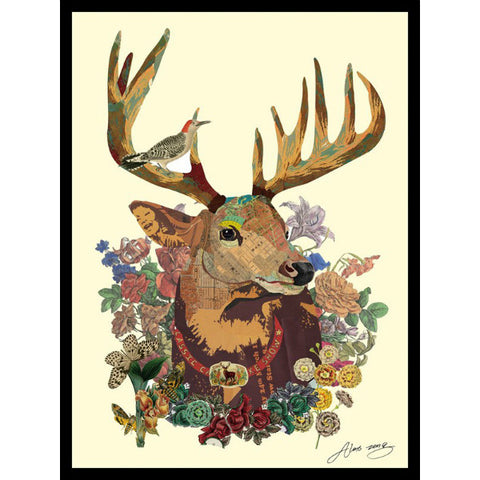 'Mr Deer' Handmade art collage wall art