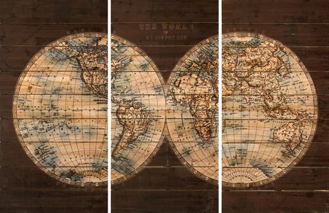 'Cartography' 3 panel set | Wood Wall Art